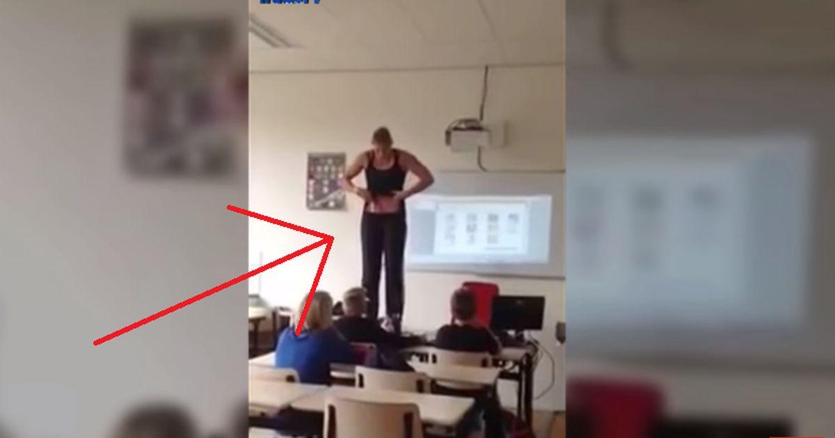 eine lehrerin zieht sich nackt ihren schuelern schueler klasse filmt alles